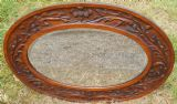Oval Carved Oak Hanging Wall Mirror with Scottish Thistle Design
